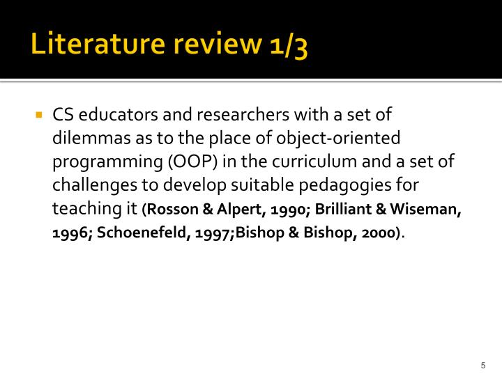 Literature review 1/3