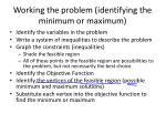 working the problem identifying the minimum or maximum