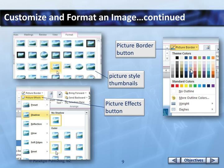 Customize and Format an Image…continued