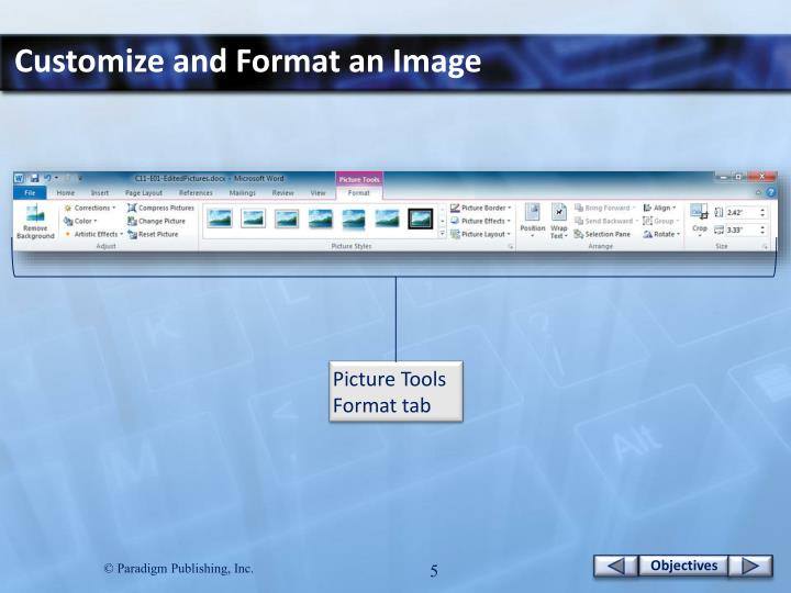 Customize and Format an Image