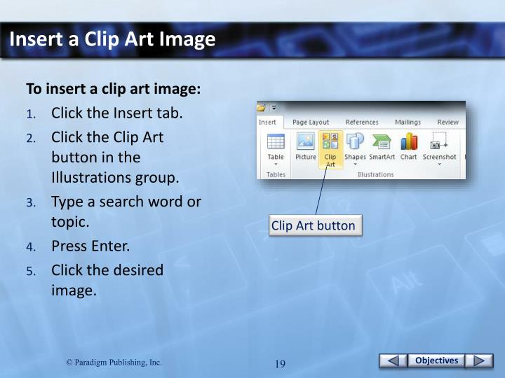 Insert a Clip Art Image