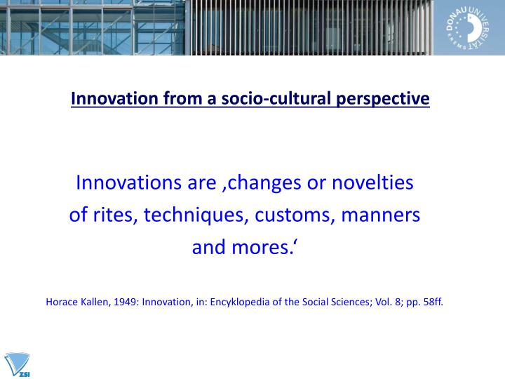 Innovation from a socio-cultural perspective