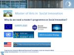 why do we need a master s programme on s ocial i nnovation