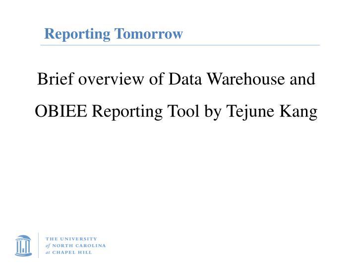 Reporting Tomorrow