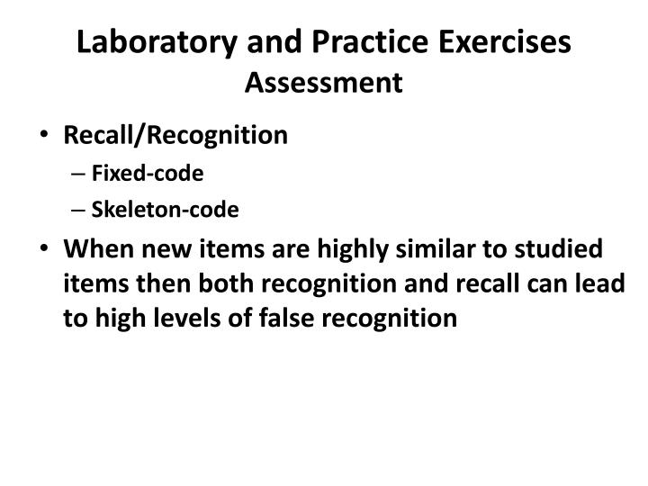 Laboratory and Practice Exercises