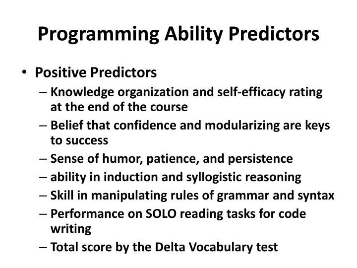 Programming Ability Predictors