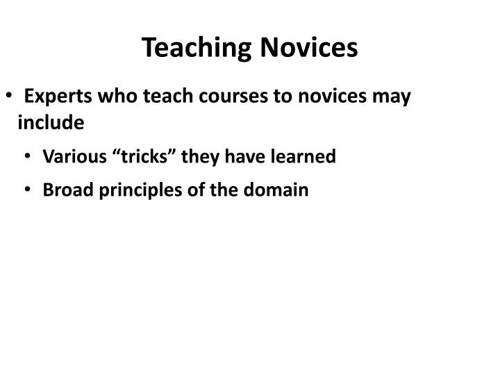 Teaching novices