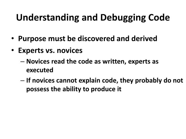 Understanding and Debugging