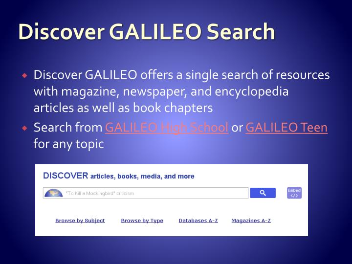 Discover GALILEO Search