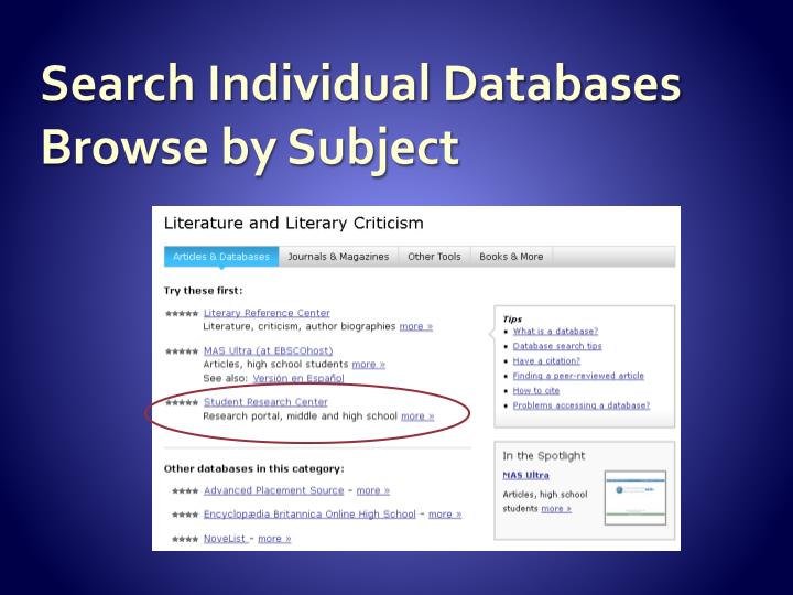 Search Individual Databases