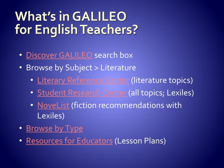 What's in GALILEO