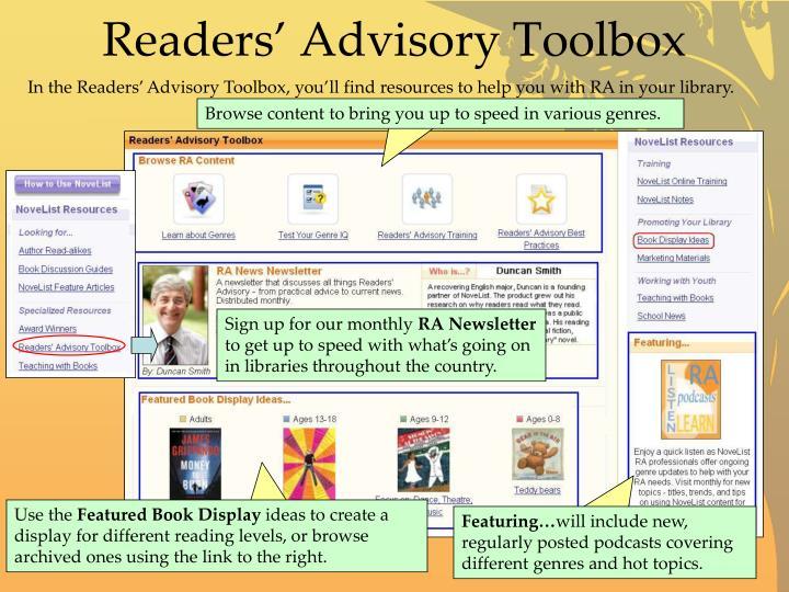 Readers' Advisory Toolbox