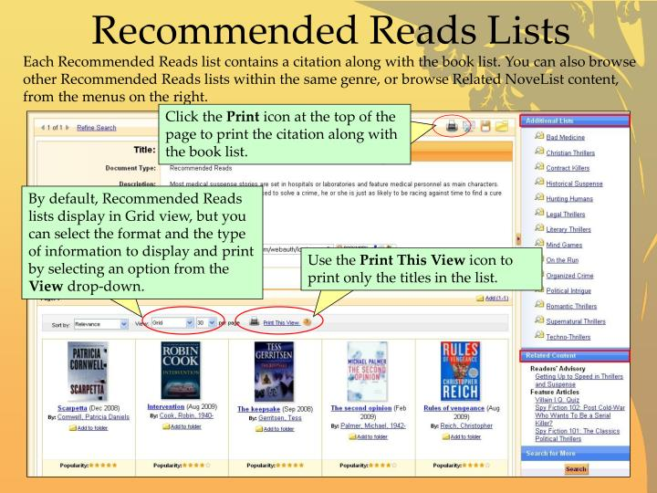 Recommended Reads Lists