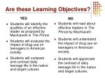 are these learning objectives