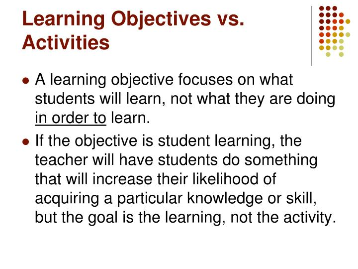 Learning Objectives vs. Activities