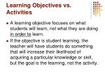 learning objectives vs activities