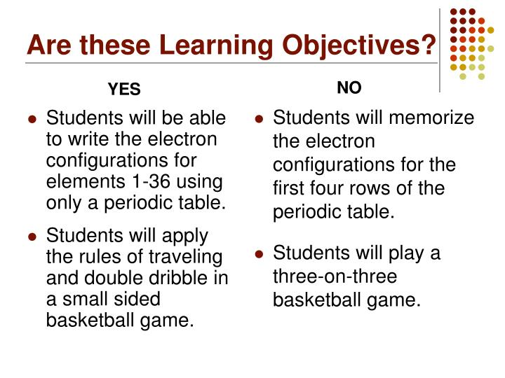 Are these Learning Objectives?