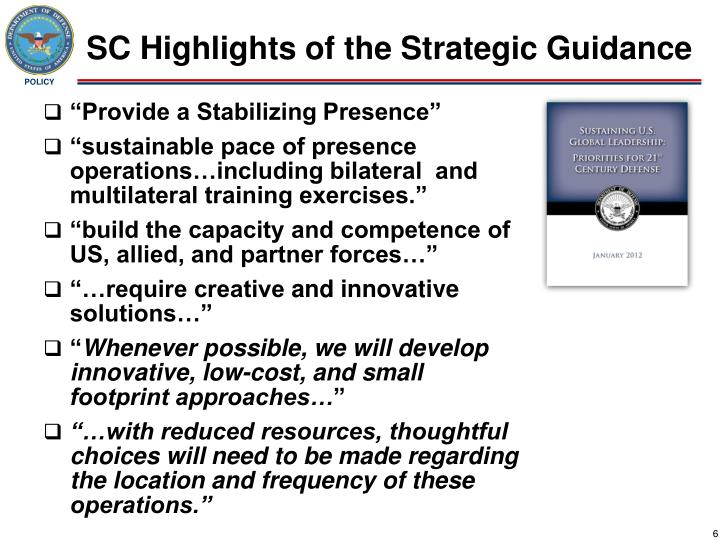 SC Highlights of the Strategic Guidance