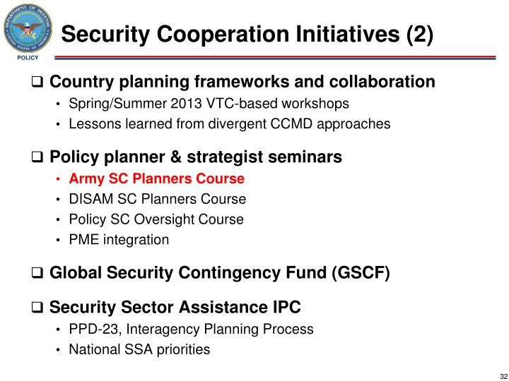 Security Cooperation Initiatives (2)