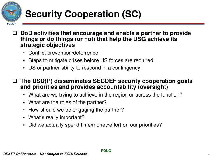 Security Cooperation (SC)
