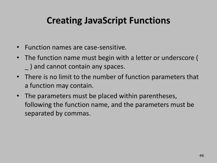 Creating JavaScript Functions