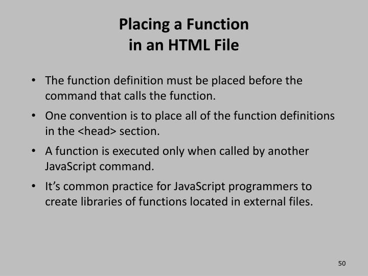 Placing a Function