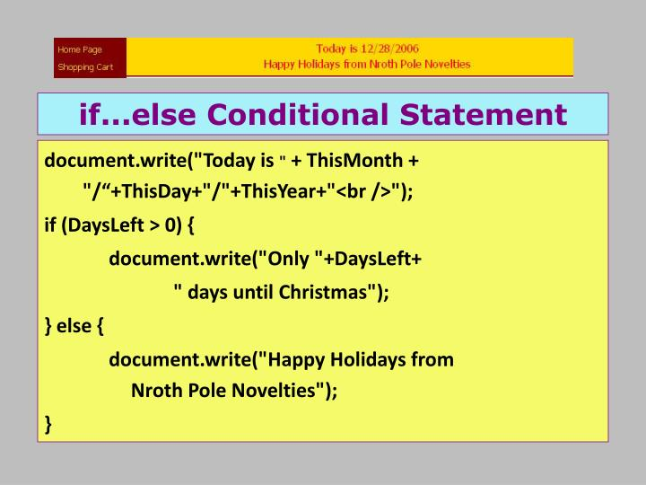 if...else Conditional Statement