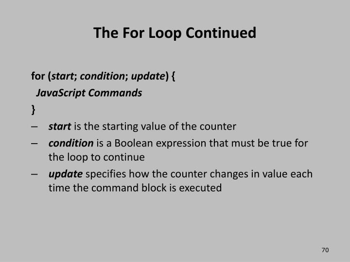 The For Loop Continued
