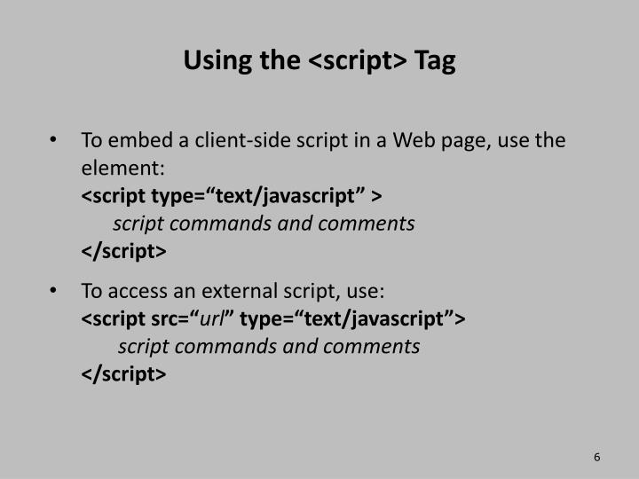 Using the <script> Tag