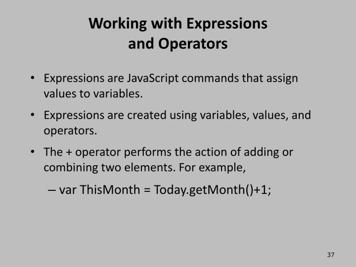 Working with Expressions