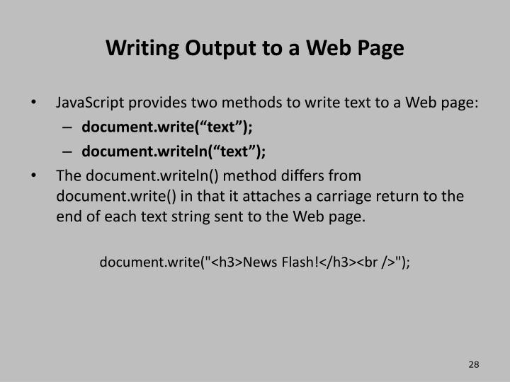 Writing Output to a Web Page