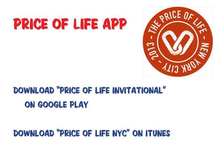 Price of Life App