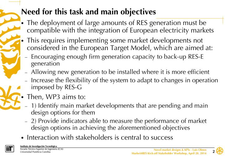 Need for this task and main objectives