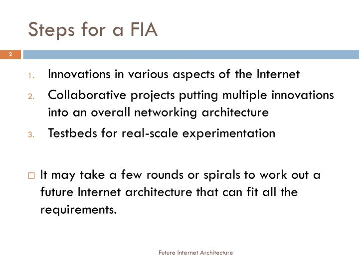 Steps for a FIA