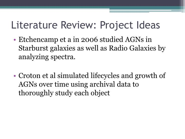 Literature Review: Project Ideas