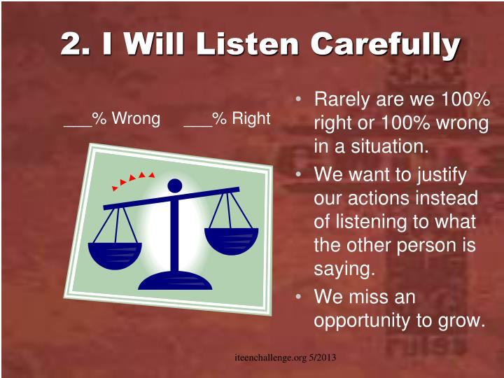 2. I Will Listen Carefully