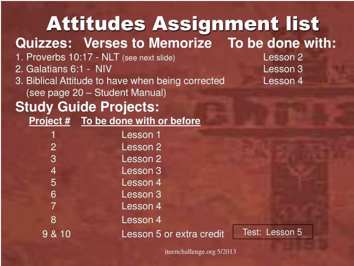 Attitudes Assignment list
