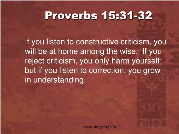 Proverbs 15:31-32