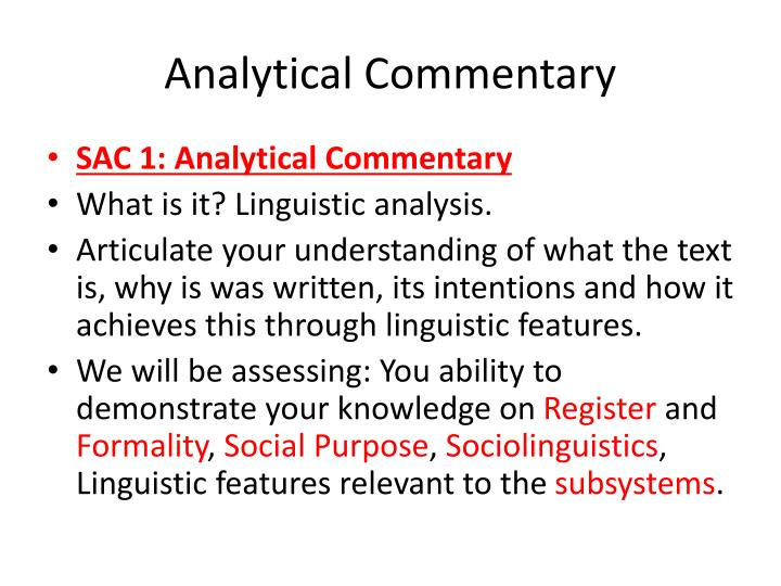 Analytical Commentary