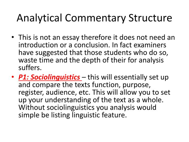 Analytical Commentary Structure