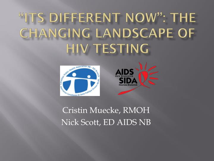 """""""Its Different Now"""": The Changing Landscape of HIV testing"""
