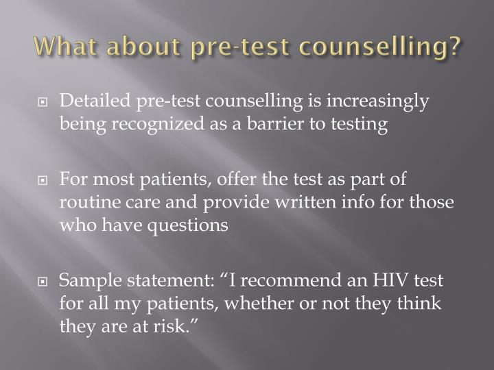 What about pre-test counselling?