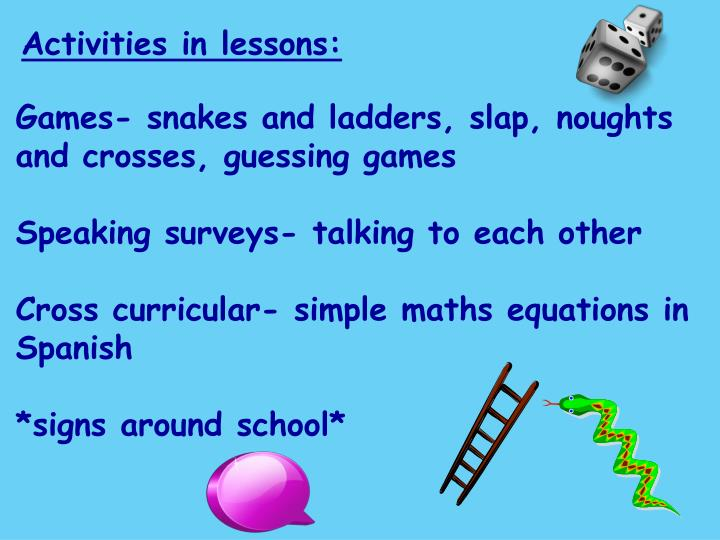 Activities in lessons: