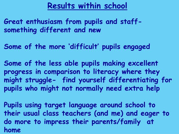 Results within school