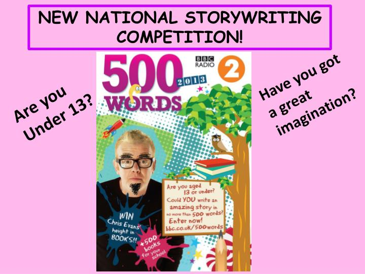 NEW NATIONAL STORYWRITING COMPETITION!