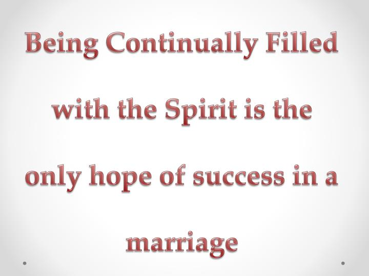 Being Continually Filled with th