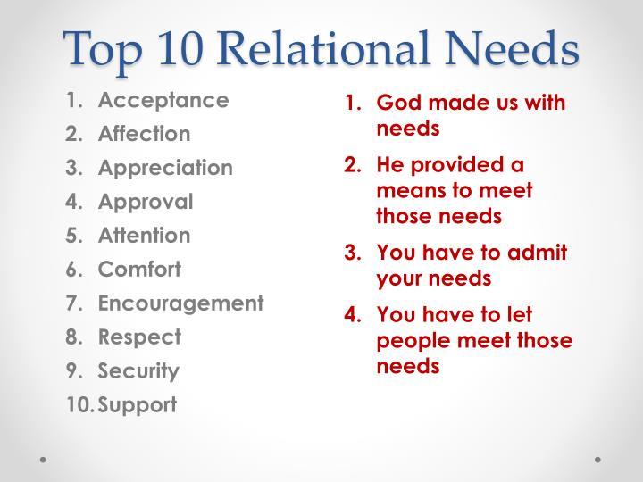Top 10 Relational Needs