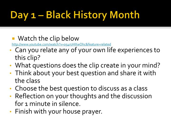 Day 1 black history month