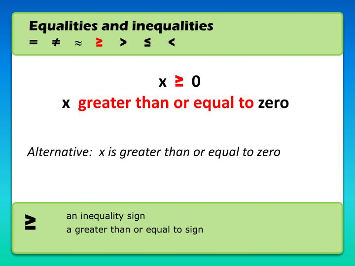Equalities and inequalities