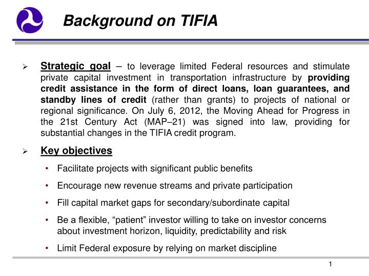 Background on TIFIA